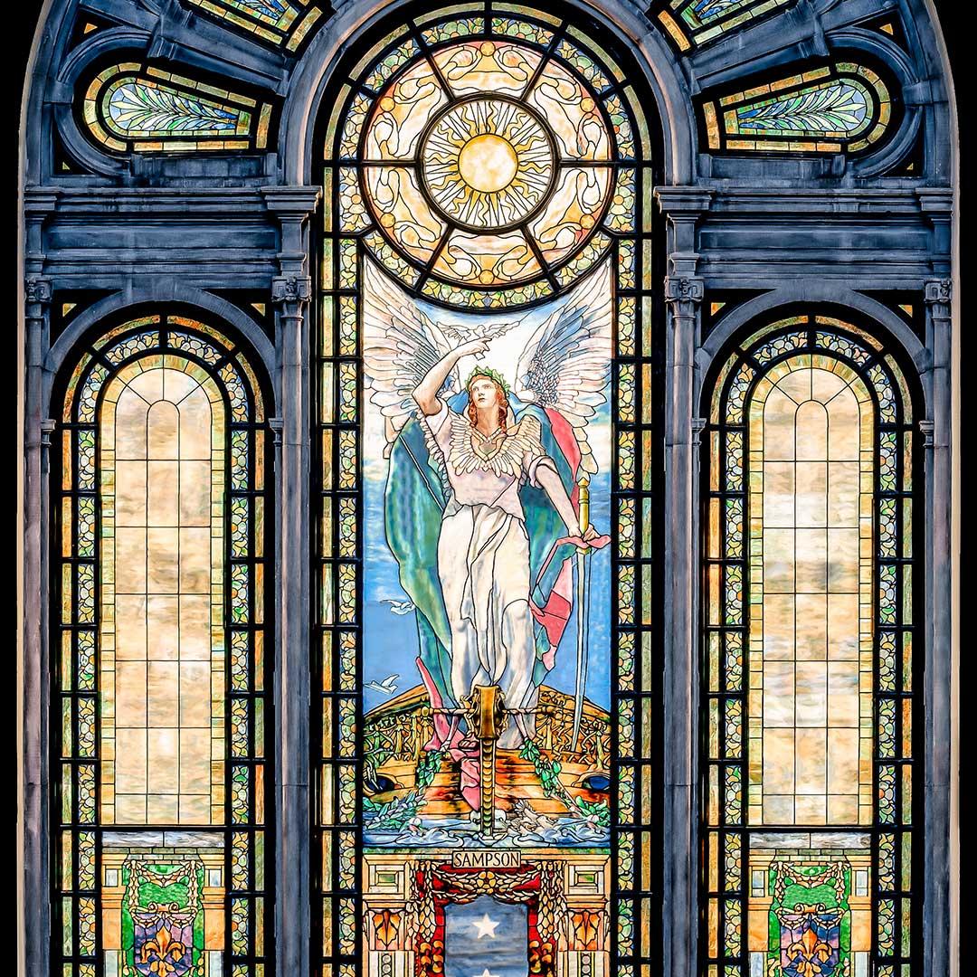 Tiffany,-USNA-Chapel,-Admiral-Sampson-Window(Angel-of-Peace)--Blue-&-Bronze,-5179-81,-E2-2,-E5,-Bar-None-post